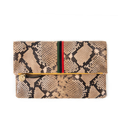 Tan Spring Snake with Evergreen, Navy and Red Mini Stripes Foldover Clutch - Front