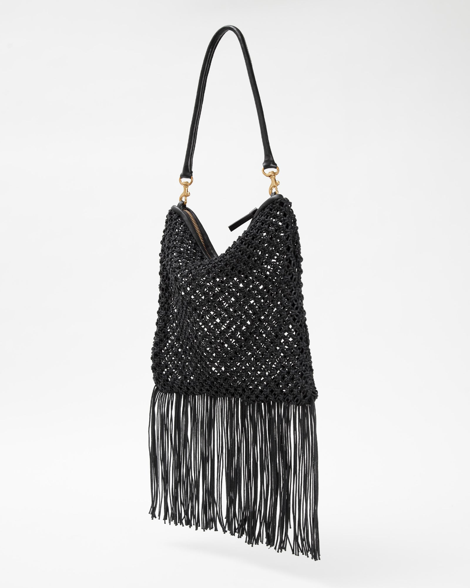 Black Circle Crochet Foldover Clutch w/ Tubular Shoulder Strap - Back