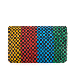 Black with Parrot Green, Sky Blue, Poppy and Yellow Woven Checker Foldover Clutch with Tabs - Back