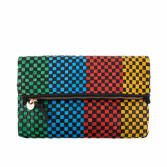 Black with Parrot Green, Sky Blue, Poppy and Yellow Woven Checker Foldover Clutch with Tabs