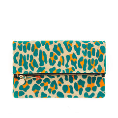 Neon Cat Suede Foldover Clutch with Tabs