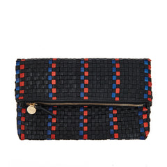 Black with Pacific and Cherry Red Woven Striped Checker Foldover Clutch with Tabs