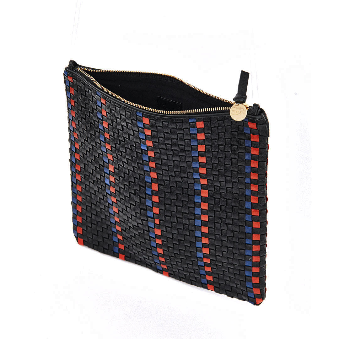 Black with Pacific and Cherry Red Woven Striped Checker Foldover Clutch with Tabs - Interior