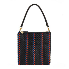 Black with Pacific and Cherry Red Woven Striped Checker Foldover Clutch with Tabs with Tubular Shoulder Strap