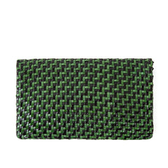 Black and Green Woven Zig Zag Foldover Clutch with Tabs - Back