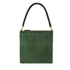 Black and Green Woven Zig Zag Foldover Clutch with Tabs with Black Tubular Shoulder Strap