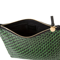 Black and Green Woven Zig Zag Foldover Clutch with Tabs - Interior