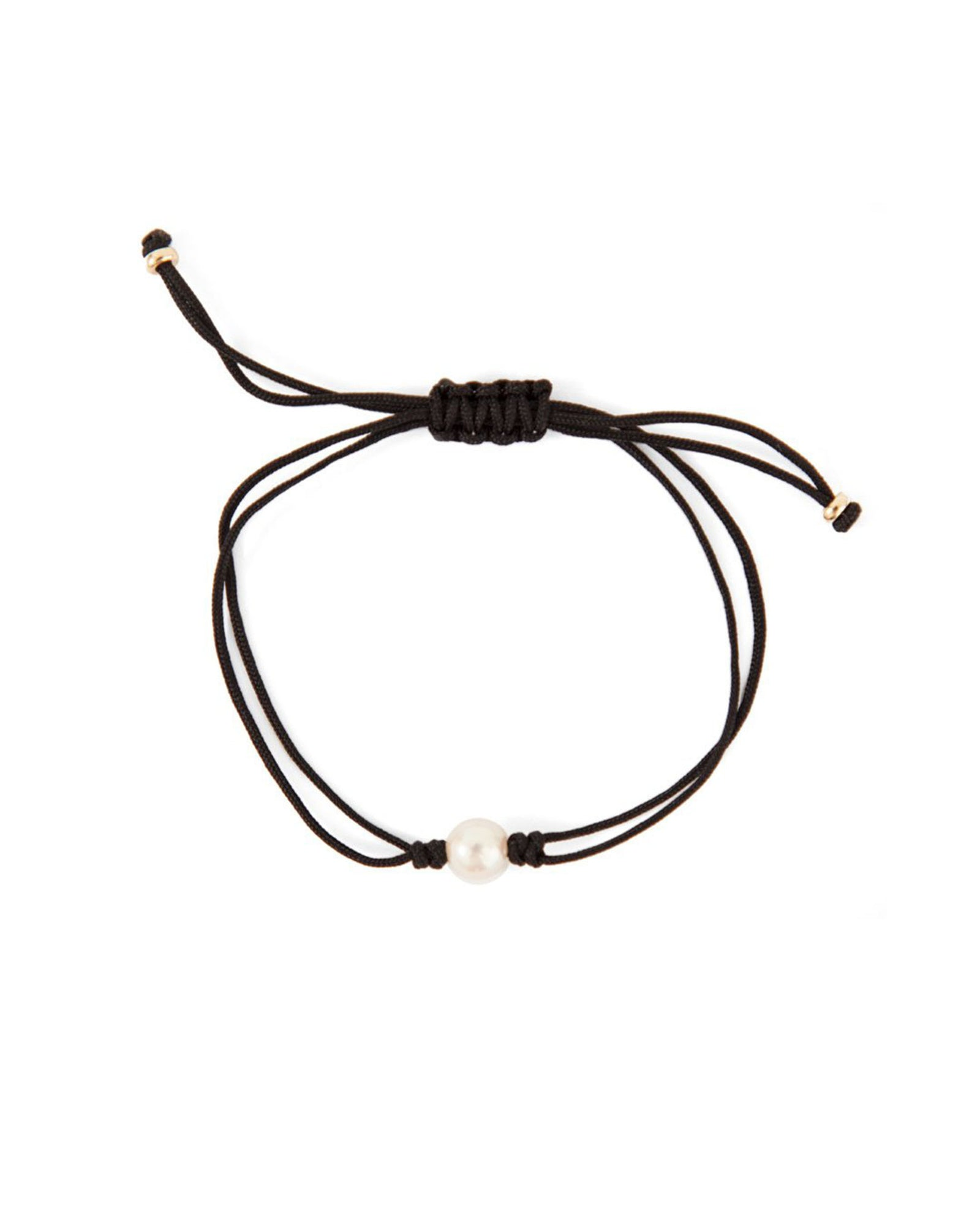 Grace Lee Pearl Silk Cord Bracelet in Black