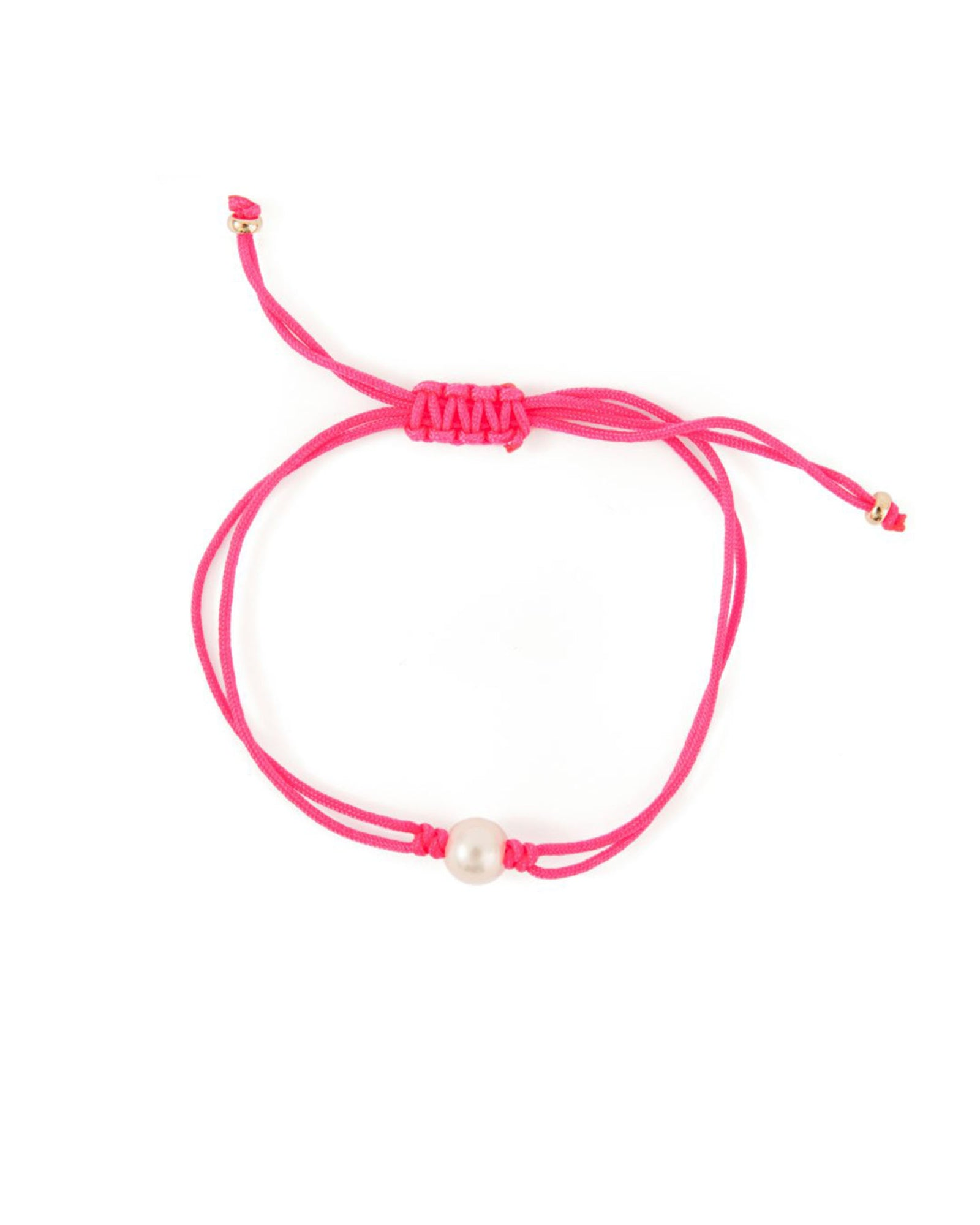 Grace Lee Pearl Silk Cord Bracelet in Neon Pink