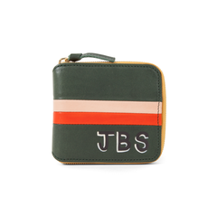 Loden w/Red & Blush Stripes Half ZIp Wallet with Hand-Painted Monogram