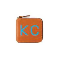 Tan Royce Half Zip Wallet with Hand-painted Monogram