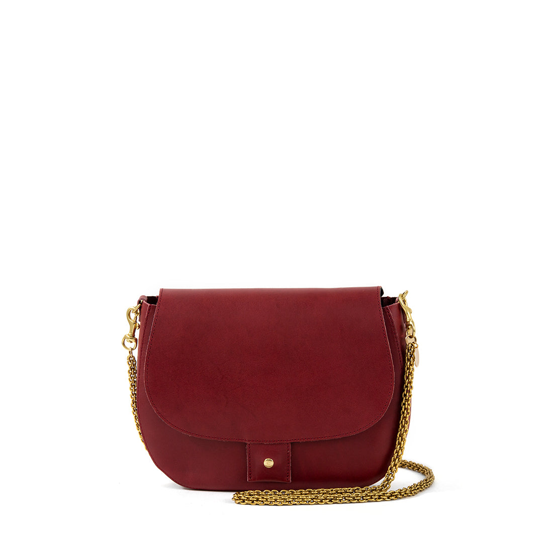 Oxblood Herieth with Thick Chain Crossbody Strap