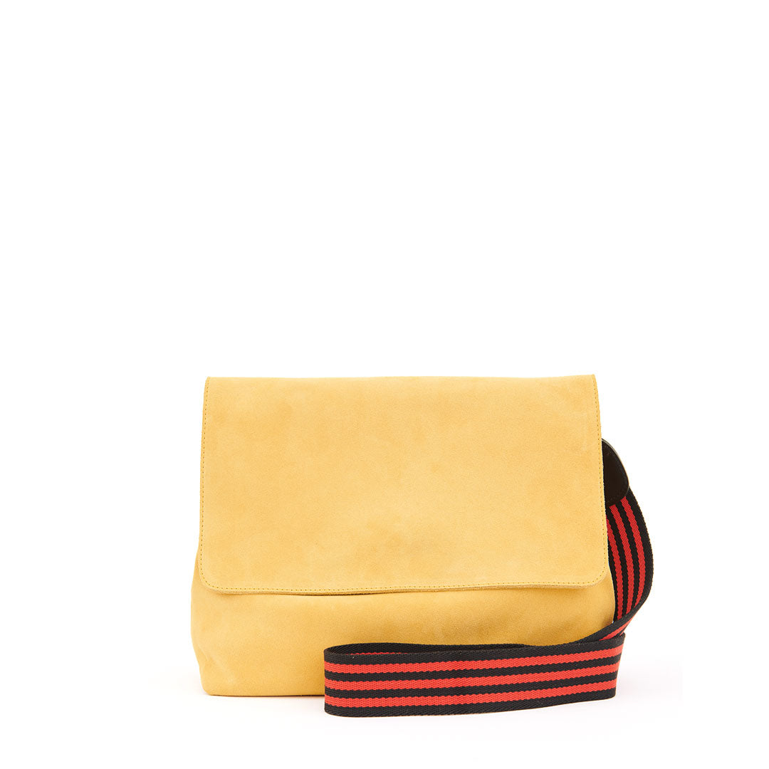 Safari Suede Helene with Black and Red Mini Stripe Cotton Webbing Crossbody Strap