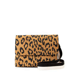 Tan Pablo Cat Suede Helene with Black & White Crossbody Strap