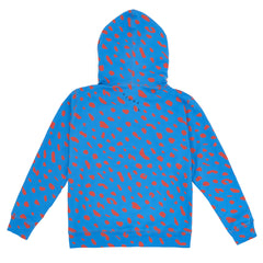 Blue with Poppy Jaguar Hoodie - Back