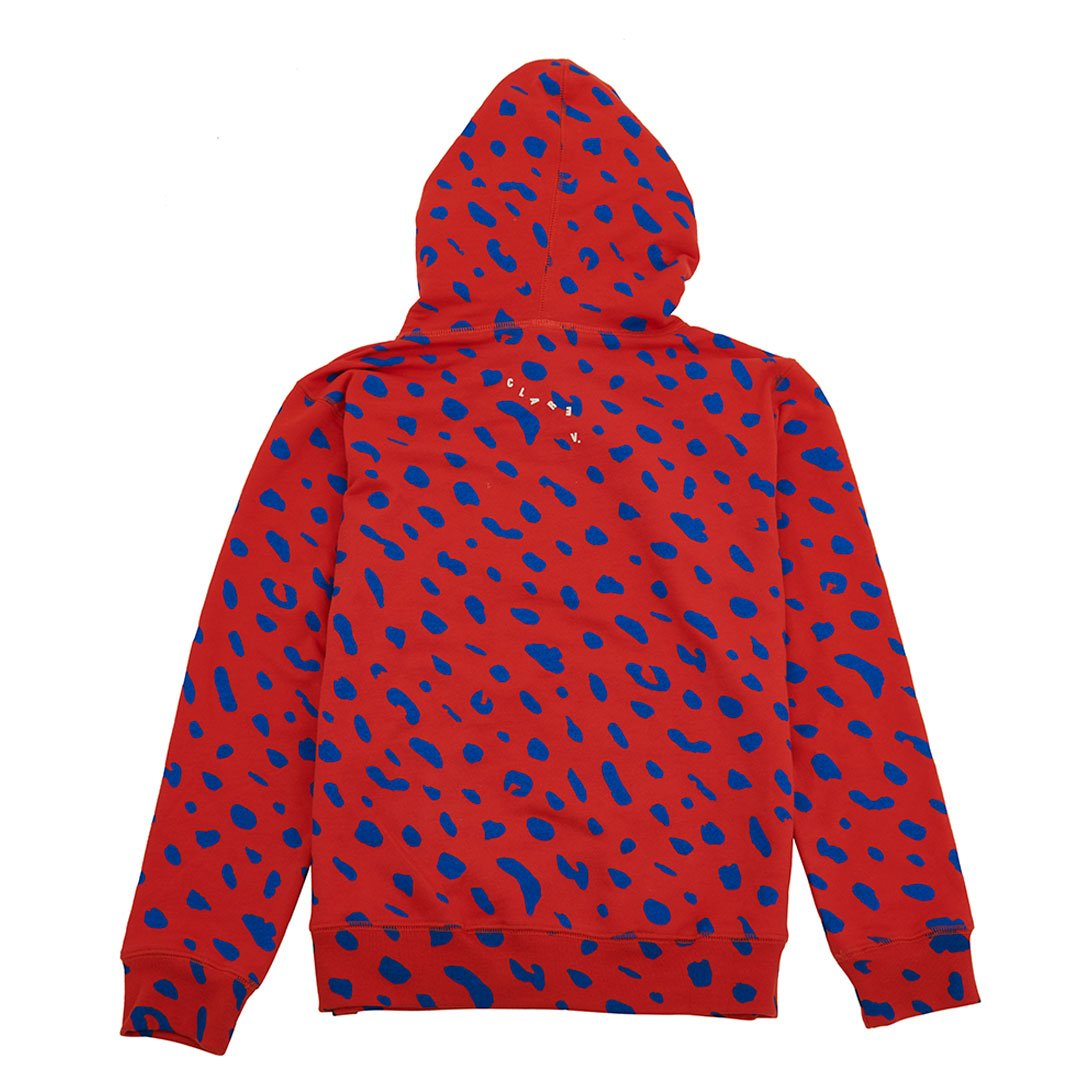 Red with Cobalt Jaguar Hoodie - Back