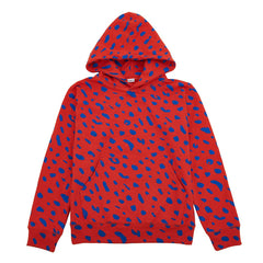 Red with Cobalt Jaguar Hoodie - Front