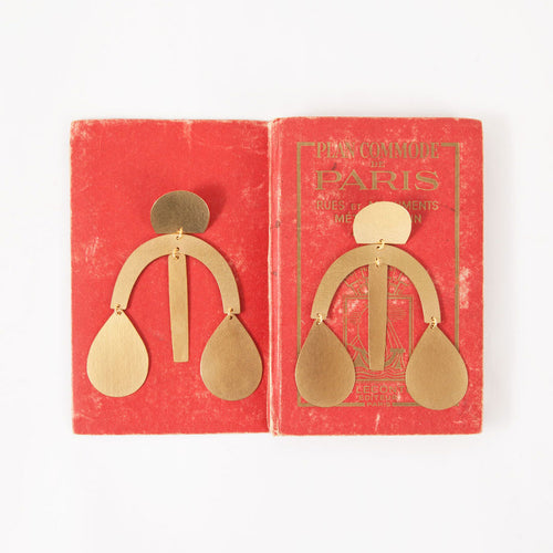 Annie Costello Brown Arc Drop Earrings
