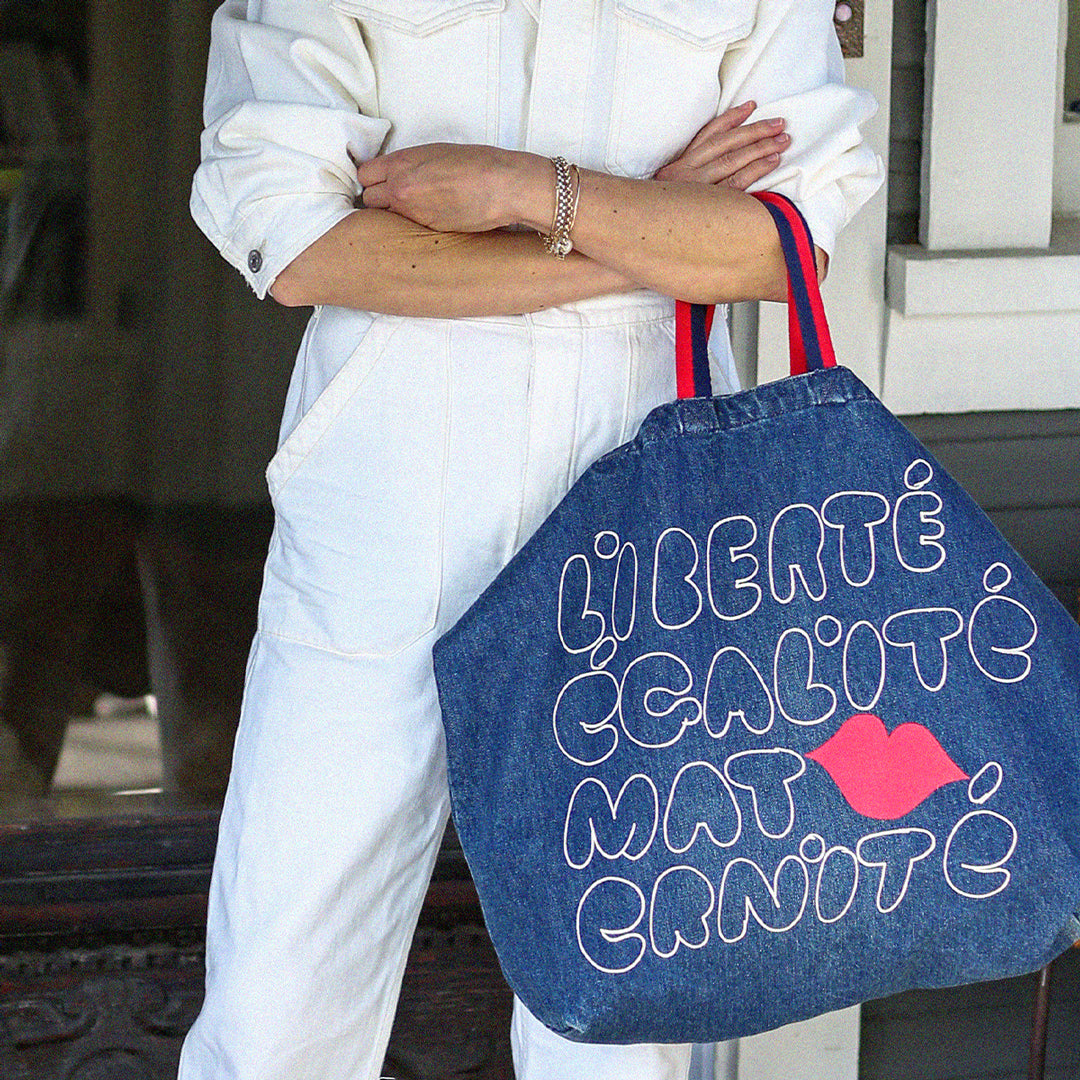 CV x Every Mother Counts Indigo Denim Jumbo Tote
