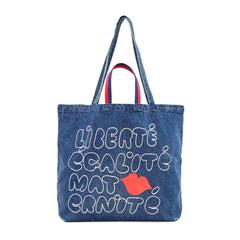 CV x Every Mother Counts Indigo Denim Jumbo Tote - Front