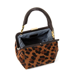 Cognac Pablo Cat Hair-On Le Box Bag - Interior