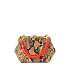 Tan Spring Snake Le Box Bag - Front