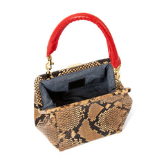Tan Spring Snake Le Box Bag - Interior