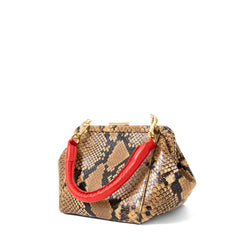 Tan Spring Snake Le Box Bag - Back
