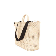 Cream Rattan Le Zip Sac - Back