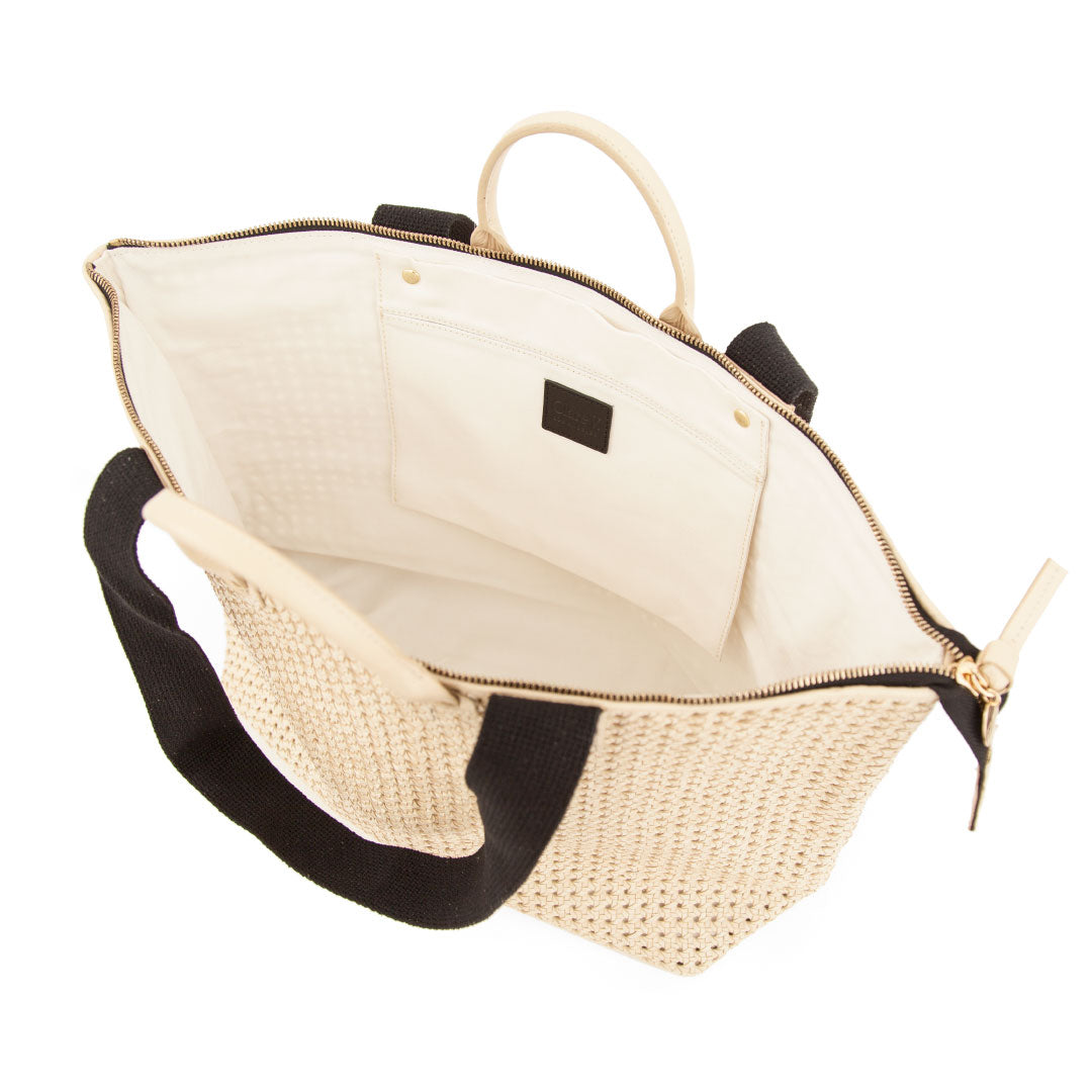 Cream Rattan Le Zip Sac - Interior