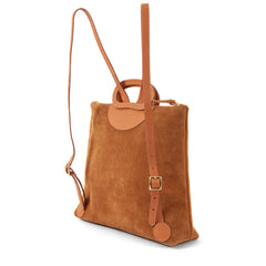Camel Suede with Desert Stripes Marcelle Backpack - Side
