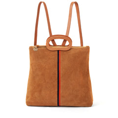 Camel Suede with Desert Stripes Marcelle Backpack - Front
