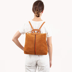 Camel Suede with Desert Stripes Marcelle Backpack - On-Model