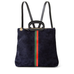 Navy Suede with Evergreen and Cherry Red Desert Stripes Marcelle Backpack - Front