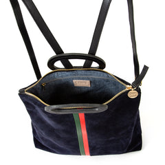 Navy Suede with Evergreen and Cherry Red Desert Stripes Marcelle Backpack - Interior