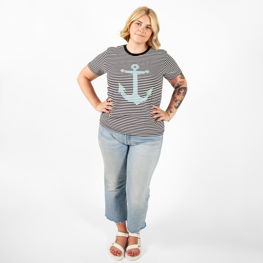 Black & Cream Stripe Marine Tee on Brooke