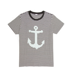 Black & Cream Stripe Marine Tee - Front