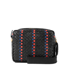 Black with Pacific and Cherry Red Striped Checker Marisol