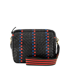 Black with Pacific and Cherry Red Striped Checker Marisol with Black & Red Mini Stripe Webbing Crossbody Strap