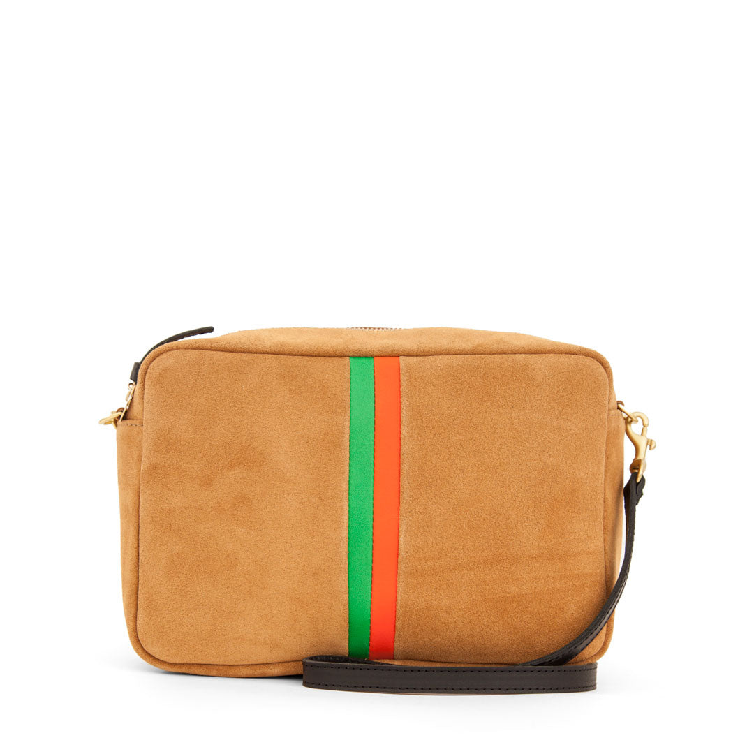 Camel Suede with Parrot Green and Blood Orange Stripes Marisol