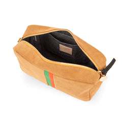 Camel Suede with Parrot Green and Blood Orange Stripes Marisol - Interior