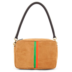 Camel Suede with Parrot Green and Blood Orange Stripes Marisol with Tubular Shoulder Strap