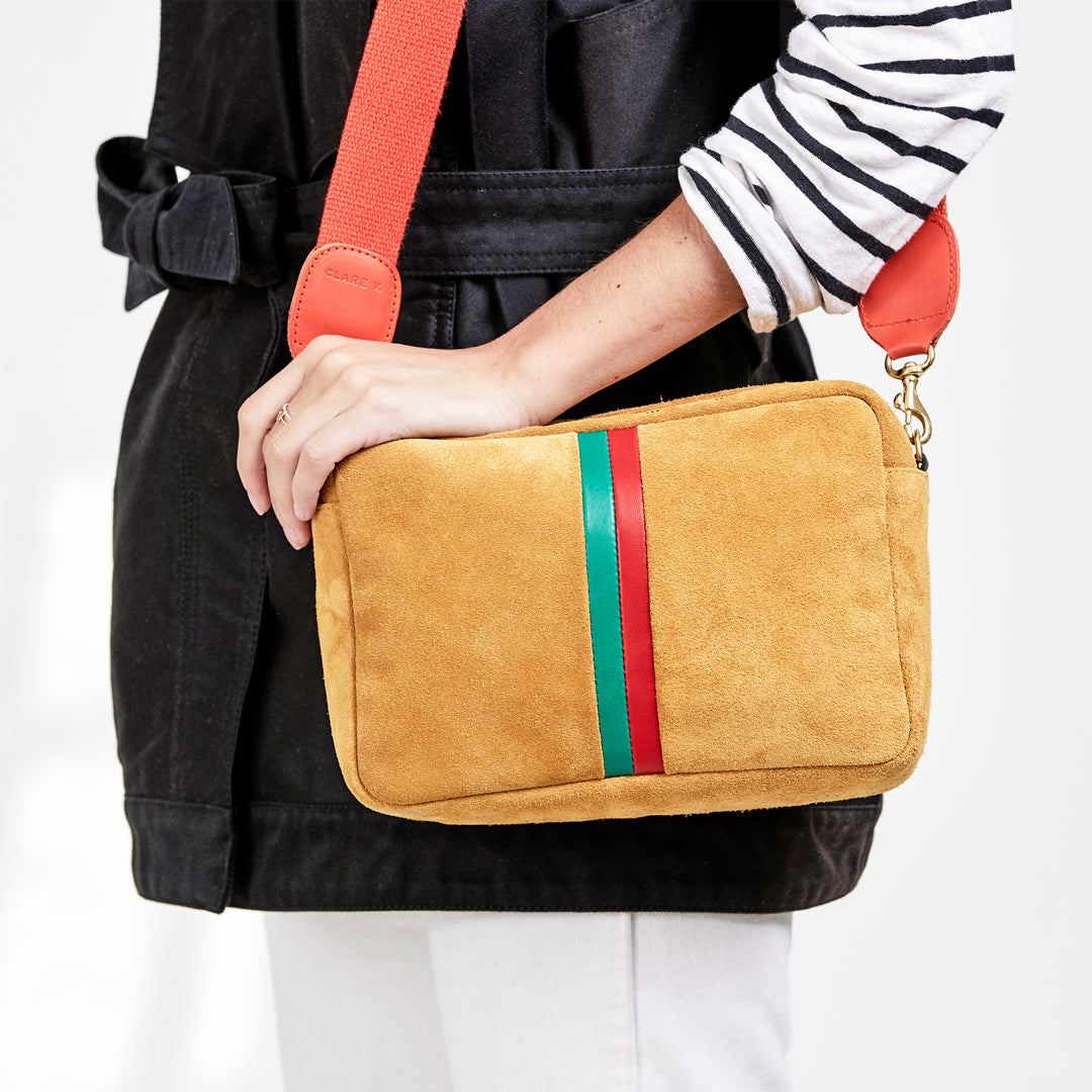 Camel Suede with Parrot Green and Blood Orange Stripes Marisol on Frannie