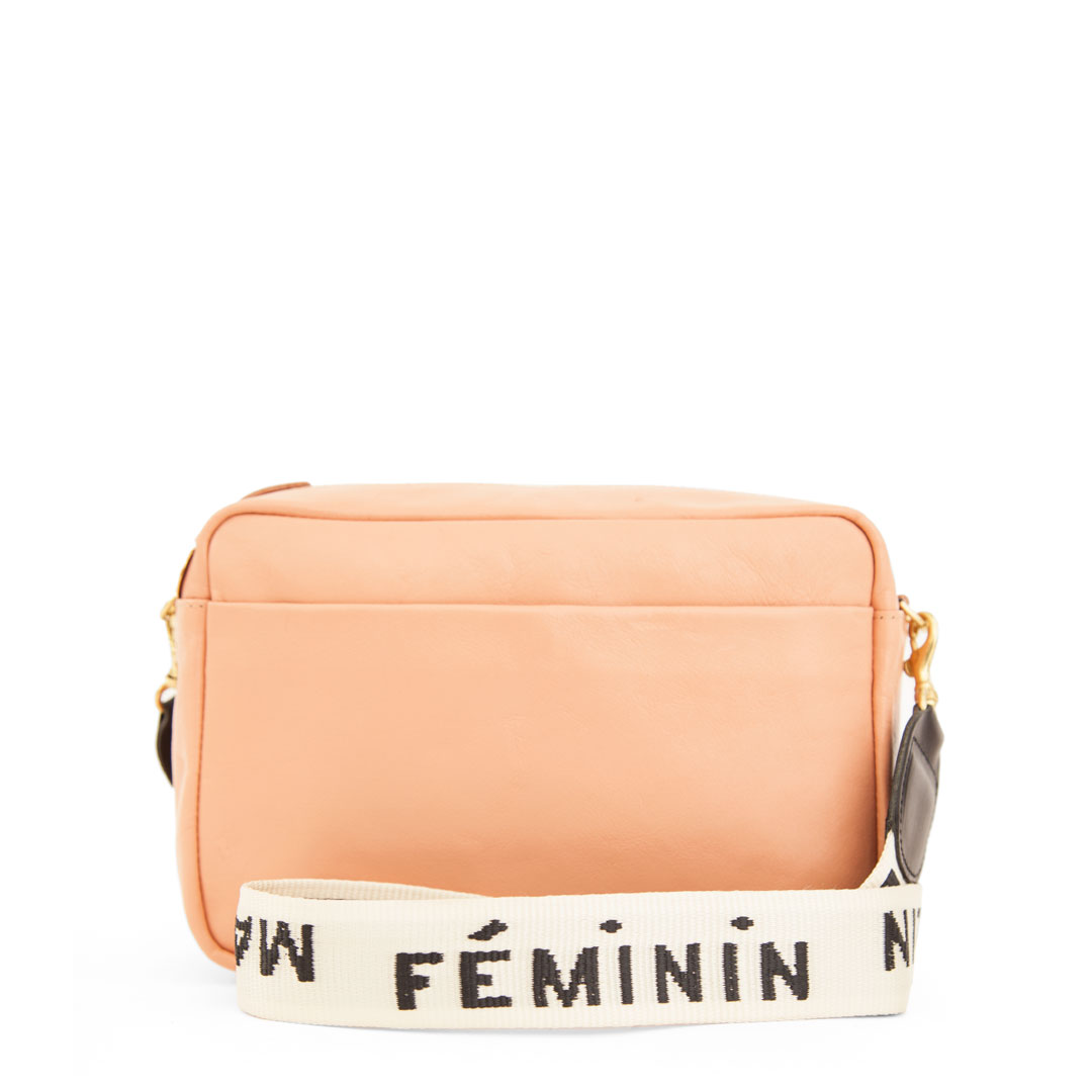 Pale Pink Marisol with  Cream with Black Masculin Féminin Crossbody Strap