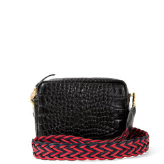 Black Croco Midi Sac with Red and Navy Braided Crossbody Strap