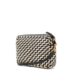 Black and Cream Woven Zig Zag Midi Sac - Back