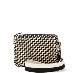 Black and Cream Woven Zig Zag Midi Sac with Black and White Crossbody Strap