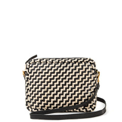 Black and Cream Woven Zig Zag Midi Sac - Front