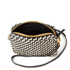 Black and Cream Woven Zig Zag Midi Sac - Interior