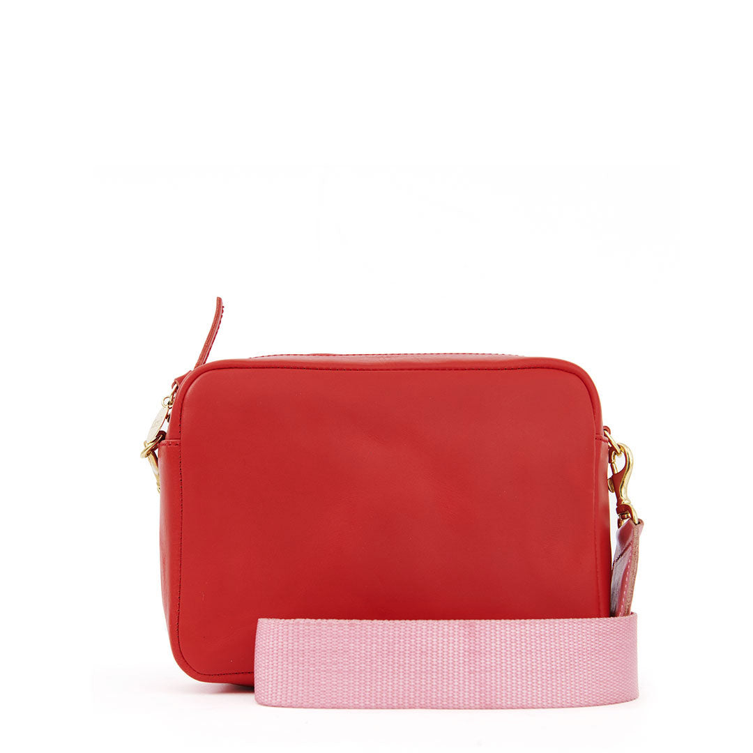 Cherry Red Midi Sac with Petal Crossbody Strap